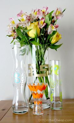 Dress up some plain glass vases with Painters Markers. #ExpressYourself