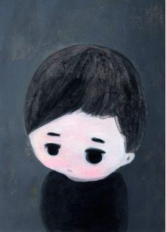 Portrait d'Enfant - Peinture de l'Artiste Japonais Kentaro Minoura