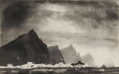norman ackroyd - three sisters etching (from 'ireland / galway bay to cork city' series) , 2007 Norman Ackroyd, Landscape Concept, Abstract Landscape, Landscape Paintings, Landscapes, Cork City, Etching Prints, Expressive Art, Mountain Landscape