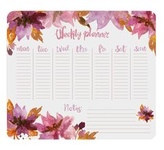 Free Weekly Desk Planner Printable