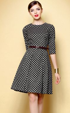 Black polka dot dress.