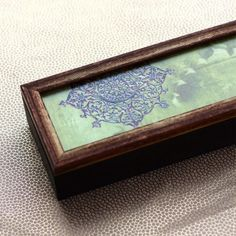 Long Zardozi Box - Lime - A beautifully decorated wooden box with intricate zardozi patterns in soothing lime.