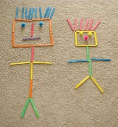 Building shapes, letters, and people with craft sticks. Body awareness and being able to construct or draw a person is a HUGE pre-requisite to being able to correctly form letters. ~ Puttis World -kids-activities Popsicle Stick Crafts, Craft Stick Crafts, Popsicle Sticks, Craft Ideas, Toddler Crafts, Crafts For Kids, Arts And Crafts, Play Based Learning, Kids Learning