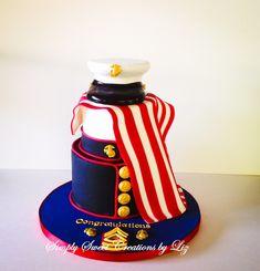 Marine Corps Cake /military Military Cake, Military Party, Military Retirement, Military Wedding, Marine Corps Cake, Marine Corps Birthday, Deployment Party, Retirement Cakes, Retirement Ideas