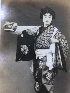 Japanese vintage postcard Meiji era portrait kabuki kimono shi shi dog obi