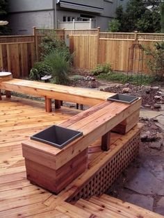 Cedar deck, fence and bench with built-in planters--for when the railing needs to be replaced on our deck. #deckdesigns
