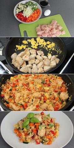 Fried rice with eggs and chicken Helathy Food, Asian Recipes, Healthy Recipes, Good Food, Yummy Food, Dinner Is Served, Recipes From Heaven, I Foods, Food Inspiration