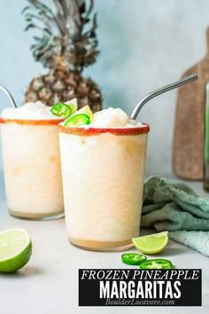 Frosty refreshing Frozen Pineapple Margaritas are fast and easy to make. The thirst quenching tropical flavor if perfect on hot days or with spicy Mexican food. Pineapple Margarita, Frozen Pineapple, Low Carb Recipes, Cooking Recipes, Best Cocktail Recipes, Margarita Recipes, Fun Cocktails, Mexican Food Recipes, Meals
