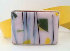 Yellow, White And Green Confetti Fused Glass Belt Buckle