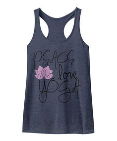 Look at this #zulilyfind! Navy Heather 'Peace Love Yoga' Racerback Tank #zulilyfinds