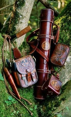 JH leather tube and pouch at tree
