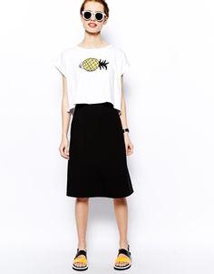New Look Crepe A Line Midi Skirt
