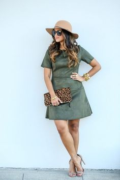 beautiful fall look- suede dress with leopard and neutral accessories