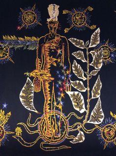 L'Homme en Gloire du Chant du Monde -  La seconde partie de ma tapisserie, qui débute d'ailleurs par une très grande pièce qui s'appelle L'Homme en gloire dans la Paix, c'est en somme la réalisation de mon l'hypothèse :  l'Homme surmonte cette folie abominable de la bombe atomique.