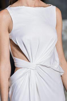 White dress with elegant twist & drape construction; fashion details // Vionnet