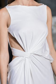 White dress with elegant twist & drape construction; fashion details // Vionnet