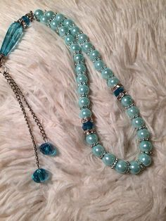 Turquoise prayer beads with silver chain 33 prayer beads  on Etsy, $8.00