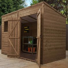 Adley x Pressure Treated Premium Double Door Shiplap Pent Shed - Pressure Treated Sheds - Wooden Sheds - Sheds Tongue And Groove Cladding, Shiplap Cladding, Sheds For Sale, Wooden Sheds, Garden Buildings, Wooden Garden, Roof Design, Double Doors, Garden Furniture