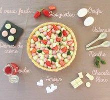 Recette - Tarte gourmande fraise & menthe - Proposée par 750 grammes