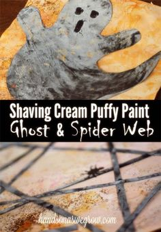 Shaving Cream Puffy Paint Ghost & Spider Web for Halloween.