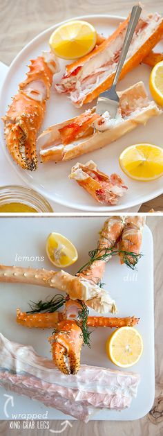 The secret to the best and easiest way to cook King Crab Legs steam them in plastic wrap foodiecrush com Fish Dishes, Seafood Dishes, Fish And Seafood, Alaskan King Crab, King Crab Legs, Good Food, Yummy Food, Crab Recipes, Plastic Wrap