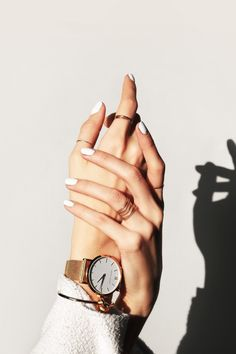 Gold watch, gold midi rings