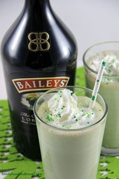 A delicious adult drink for St. Patrick's Day made with Baileys Irish Cream and Mint Chocolate Chip Ice Cream.
