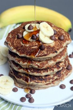 Whole Wheat Chocolate Chip Banana Bread Pancakes -- from Tastes Better From Scratch