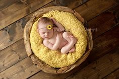 Newborn photography- with an old crate or basket