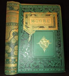 POETICAL WORKS OF THOMAS MOORE Victorian FINE BINDING Antique ILLUSTRATED Book