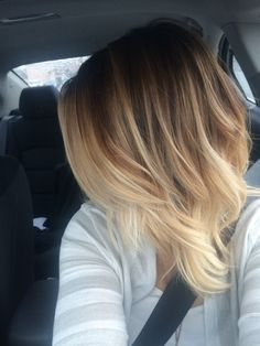 This creamy blonde balyage ombre is a great low maintaince color to brighten up…