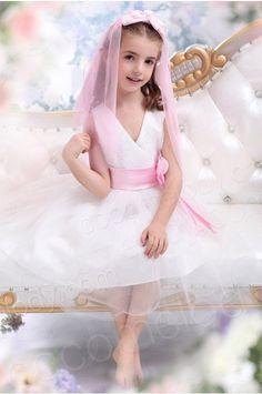 A Line V Neck Tea Length Tulle Ivory Flower Girl Dress CKZK13001 #cocomelody