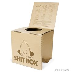 Shit Box -- The Portable Cardboard Crapper    ---  from InventorSpot.com --- for the coolest new products and wackiest inventions.