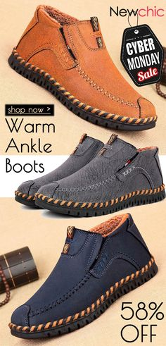 c18bc171bce8 Men Hand Stitching Warm Plush Lining Portable Slip On Ankle Boots is  fashionable