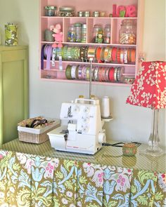 maybe one day my little sewing corner in the schoolroom will look this organized!