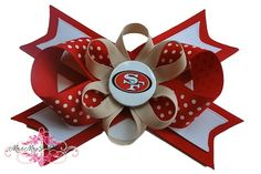 San Francisco 49ers Hair Bow-Boutique, Hair Bow, Alligator Clip, Headband, Pink, Black, Skulls, Rocker, Emo, Punk, French Barrette, Barrette, Hat, Hair, Bow, Clip, Clippy, baby, toddler, teen, NHL, adult, pacifier, pony o, infant, stacked, beautiful, flower, sports, gem, ribbon, grosgrain, NFL, NBA, NCAA,