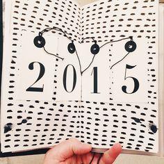 New Year art journal layout in a Midori Traveler's notebook - ashley g