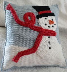Cute Idea, No Pattern- Snuggly Crocheted Snowman Pillow for your Holiday