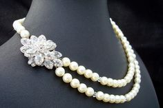 Pearl NecklaceBridal Rhinestone Necklace Ivory by DivineJewel