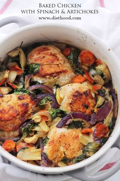 Baked Chicken with Spinach and Artichokes. Chicken, spinach and artichokes come together in this delicious, one-pot recipe. Turkey Recipes, Paleo Recipes, Chicken Recipes, Cooking Recipes, Recipe Chicken, Spinach Stuffed Chicken, Baked Chicken, Food Dishes, Main Dishes