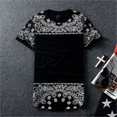 Fashion-Men-Women-Couple-Hip-Hop-Shirt-Allover-Paisley-Bandana-Print-Tee-T-shirt