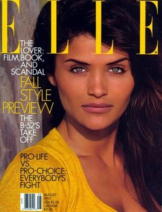 "supermodelobsession: "" Elle US August 1992 (Cover) Model: Helena Christensen Photographer: Gilles Bensimon "" Fashion Magazine Cover, Fashion Cover, 80s Fashion, Patrick Demarchelier, Helena Christensen, Magazine Cover Layout, Magazine Covers, Elle Us, 90s Models"