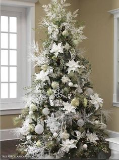 christmas trees decorated in white - Google Search