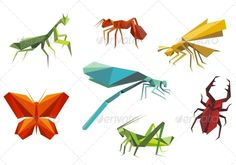 Insects Set in Origami Style  #GraphicRiver         Insects set in origami style isolated on white background. Editable EPS8 (you can use any vector program) and JPEG (can edit in any graphic editor) files are included   SPORTS                                               MASCOTS                                               MEDICINE                                 FOOD                                               LABELS                                               WEDDING  …