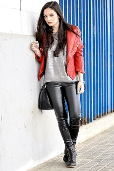 Leather pants and jacket by Fashionista's, via Flickr