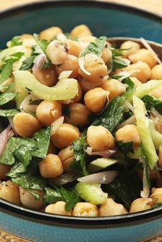 Make Ahead Chickpea Salad With Cumin and Celery Recipe - Ayurveda Rezepte Chickpea Recipes, Chickpea Salad, Veggie Recipes, Salad Recipes, Healthy Recipes, Vitamix Recipes, Canning Recipes, Easy Salads, Easy Meals