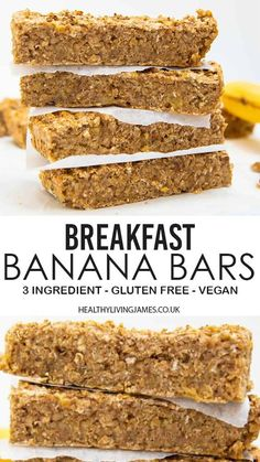 Breakfast Bars Healthy, Healthy Snack Bars, Healthy Breakfast Recipes, Easy Snacks, Vegan On The Go Breakfast, Easy Vegan Snack, Recipes With Bananas Healthy, Healthy Snacks For Kids On The Go, Healthy Gluten Free Snacks