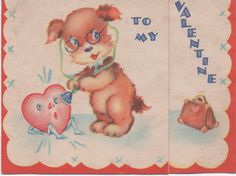"1942 Valentine, Used, Puppy with Stethoscope, ""I Sure Develop Heart Trouble Whenever You're Around!"", good shape by VintageNEJunk on Etsy Stethoscope, Stationery Set, Birthday Balloons, Vintage Halloween, Etsy Vintage, Winnie The Pooh, Greeting Cards, Teddy Bear, Valentines"