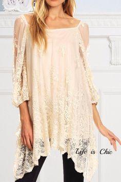 Cross My Heart Victorian Lace Tunic Ivory