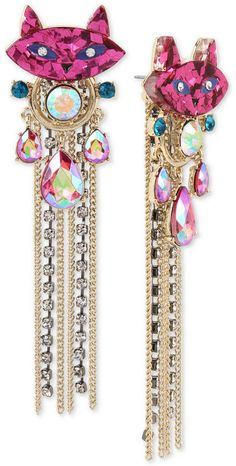 7856f16aaa9 Betsey Johnson Two-Tone Stone   Crystal Kitty Cat Fringe Drop Earrings  Statement Jewelry